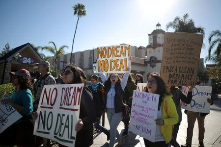 DACA recipients and supporters protest for a clean Dream Act outside Disneyland in Anaheim, California U.S. January 22, 2018. REUTERS/Lucy Nicholson