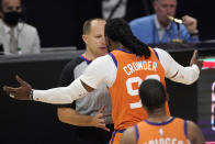 Phoenix Suns forward Jae Crowder argues with a referee after being charged with his sixth foul during the second half in Game 3 of the NBA basketball Western Conference Finals against the Los Angeles Clippers Thursday, June 24, 2021, in Los Angeles. (AP Photo/Mark J. Terrill)