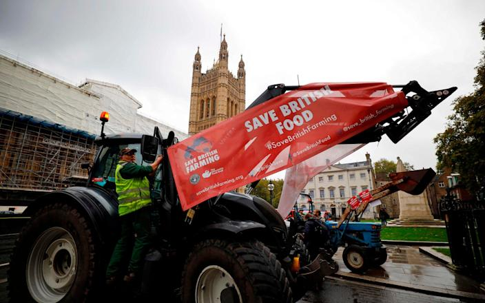 Farmers in tractors protest over food and farming standards on the day the Agricultural Bill returns to the House of Commons - AFP/Tolga Akmen