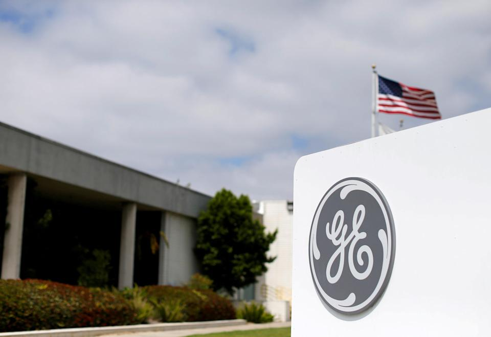 FILE PHOTO: The logo of General Electric is shown at their subsidiary company GE Aviation in Santa Ana, California, U.S. on April 13, 2016. REUTERS/Mike Blake/File Photo