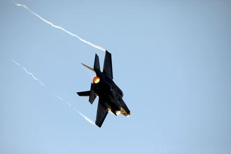FILE PHOTO: FILE PHOTO: Israeli Air Force F-35 flies during an aerial demonstration at a graduation ceremony for Israeli air force pilots at the Hatzerim air base in southern Israel December 26, 2018. REUTERS/Amir Cohen/File Photo/File Photo