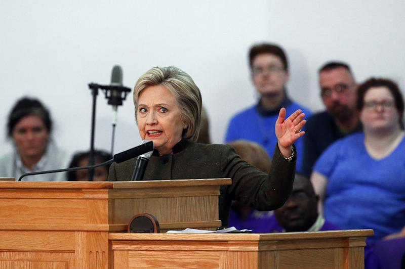 Hillary Clinton speaks at the House of Prayer Missionary Baptist Church in Flint, Mich.