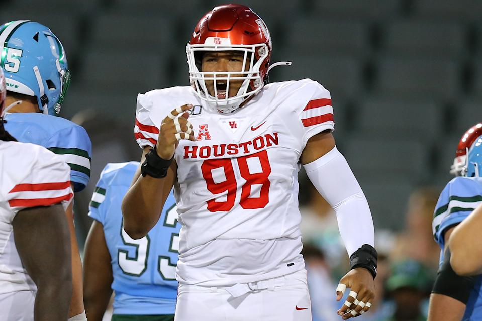 NEW ORLEANS, LOUISIANA - SEPTEMBER 19: Payton Turner #98 of the Houston Cougars celebrates a tackle during the first half of a game against the Tulane Green Wave at Yulman Stadium on September 19, 2019 in New Orleans, Louisiana. (Photo by Jonathan Bachman/Getty Images)