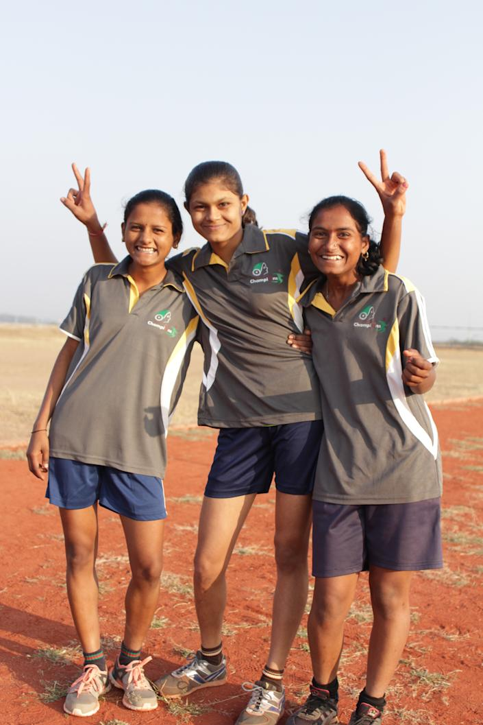 The young athlete (L) specialises in running five-km, 10-km, and half-marathons