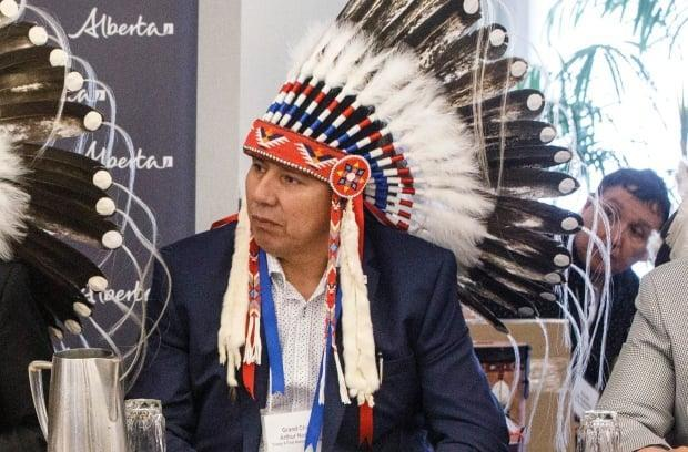 Grand Chief Arthur Noskey participates in a meeting about increasing Indigenous participation in the economy in June 2019.