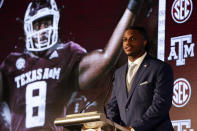 FILE - In this July 21, 2021, file photo, Texas A&M defensive end DeMarvin Leal speaks to reporters during the NCAA college football Southeastern Conference Media Days in Hoover, Ala. Leal was selected to The Associated Press Preseason All-America first team defense, Monday Aug. 23, 2021. (AP Photo/Butch Dill, File)
