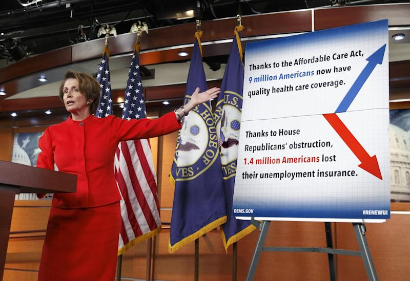 House Minority Leader Nancy Pelosi of Calif. meets with reporters on Capitol Hill in Washington, Thursday, Jan. 9, 2014. The top Democrat in the Republican-controlled House focused on the Affordable Care Act and the fight to pass immigration reform. (AP Photo/J. Scott Applewhite)
