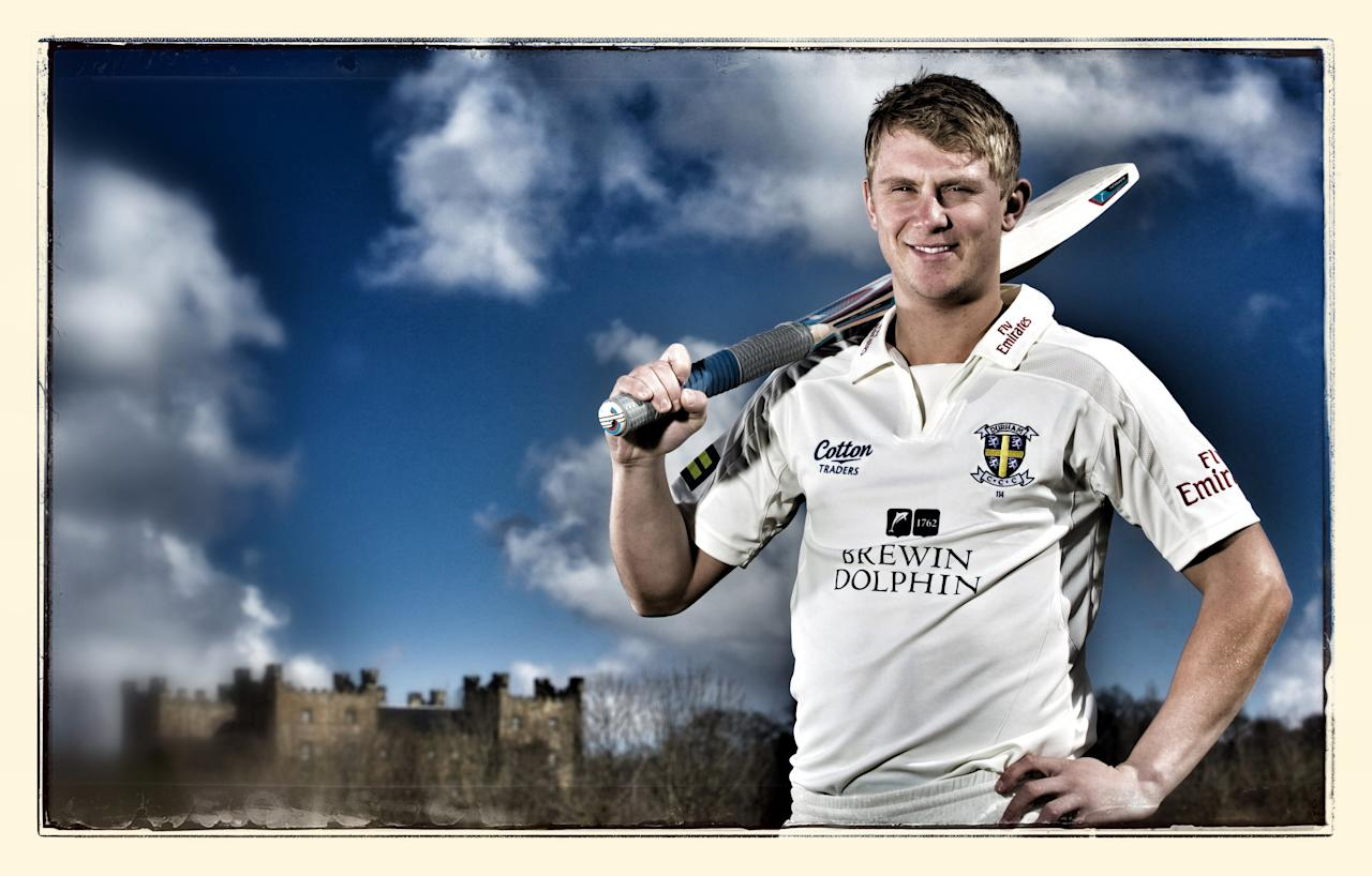 CHESTER-LE-STREET, ENGLAND - APRIL 3: (Editors note: This image was created using saturation and image filters) Scott Borthwick of Durham CCC poses for a photograph during a pre-season photocall at The Riverside on April 3, 2013 in Chester-le-Street, England. (Photo by Paul Thomas/Getty Images)