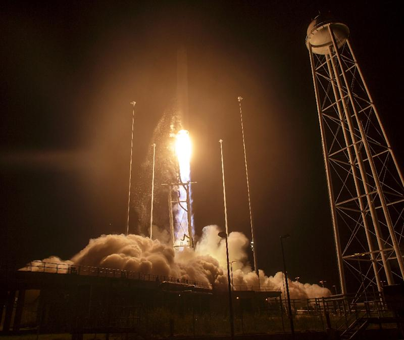 The Orbital ATK Antares rocket, with the Cygnus spacecraft onboard, takes off on October 17, 2016 at NASA's Wallops Flight Facility in Virginia