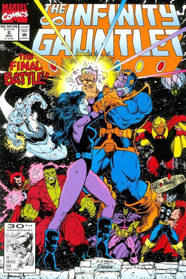 Nebula swipes the Infinity Gauntlet from Thanos as Dr. Strange, Silver Surfer, Hulk, Drax, Adam Warlock, and Thor look on. (Photo: Marvel Comics)