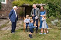 """<p>The entire Cambridge crew <a href=""""https://www.townandcountrymag.com/society/tradition/a34177718/prince-george-louis-william-princess-charlotte-kate-middleton-david-attenborough-photo/"""" rel=""""nofollow noopener"""" target=""""_blank"""" data-ylk=""""slk:with Sir David Attenborough"""" class=""""link rapid-noclick-resp"""">with Sir David Attenborough</a> in the gardens of Kensington Palace. </p>"""