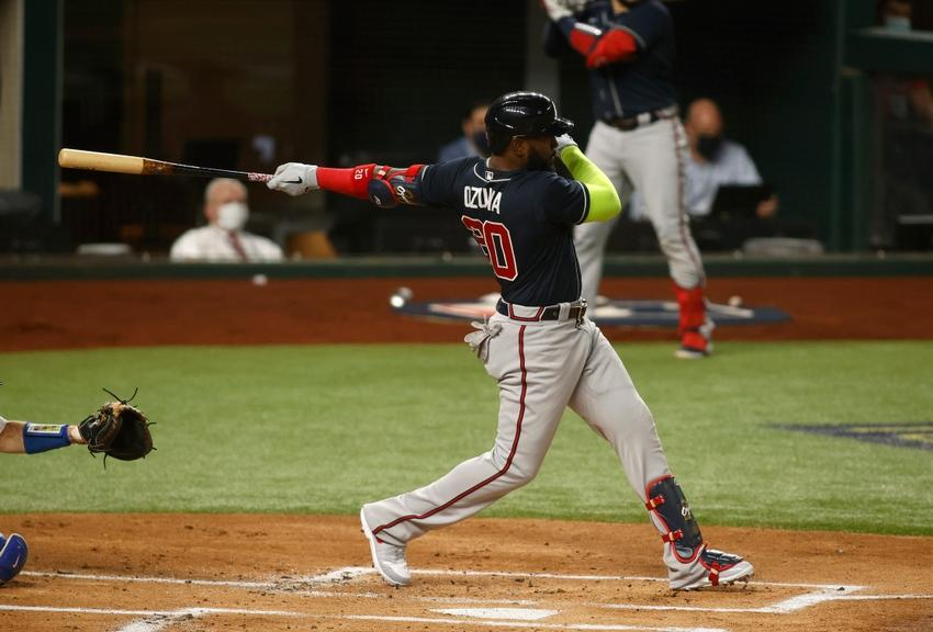 Marcell Ozuna takes a swing