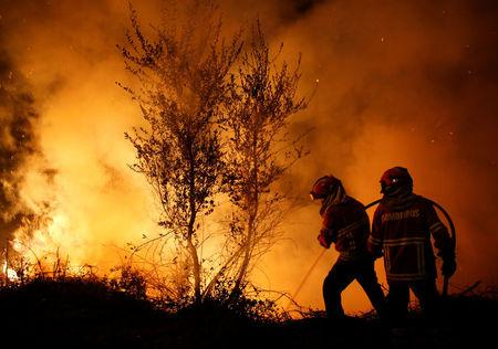Firefighters work to extinguish flames from a forest fire in Cabanoes near Lousa