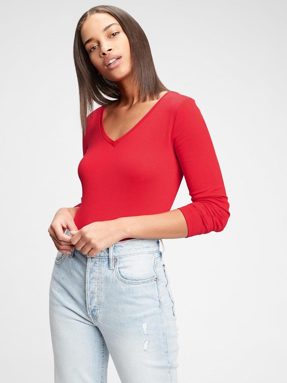 <p>Or this simple <span>Gap Modern V-Neck T-Shirt</span> ($16, originally $25). Matching sets will give total girl group vibes!</p>