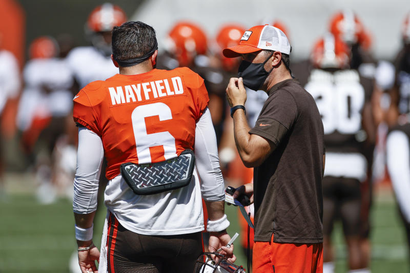 Under new head coach Kevin Stefanski (right), Baker Mayfield and the Cleveland Browns have been much less talkative this offseason. (AP Photo/Ron Schwane, File)