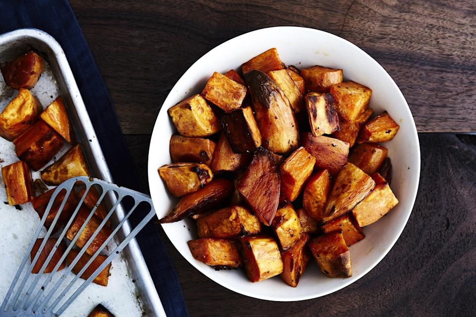 """For more variations and veggie inspiration, check out our <a href=""""http://www.bonappetit.com/test-kitchen/how-to/article/simple-roasted-vegetables/?mbid=synd_yahoo_rss"""" rel=""""nofollow noopener"""" target=""""_blank"""" data-ylk=""""slk:roasted veggie matrix"""" class=""""link rapid-noclick-resp"""">roasted veggie matrix</a>. <a href=""""https://www.bonappetit.com/recipe/roasted-sweet-potatoes?mbid=synd_yahoo_rss"""" rel=""""nofollow noopener"""" target=""""_blank"""" data-ylk=""""slk:See recipe."""" class=""""link rapid-noclick-resp"""">See recipe.</a>"""