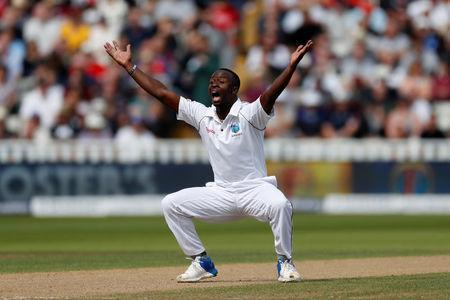 Cricket - England vs West Indies - First Test - Birmingham, Britain - August 18, 2017 West Indies' Kemar Roach appeals for a wicket Action Images via Reuters/Paul Childs