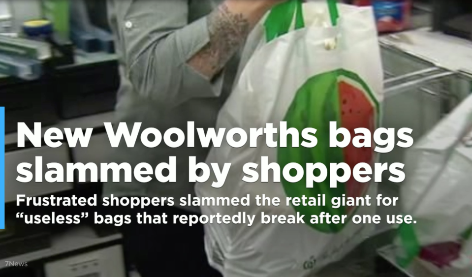 "Frustrated shoppers slammed the retail giant for ""useless"" bags that reportedly break after one use."