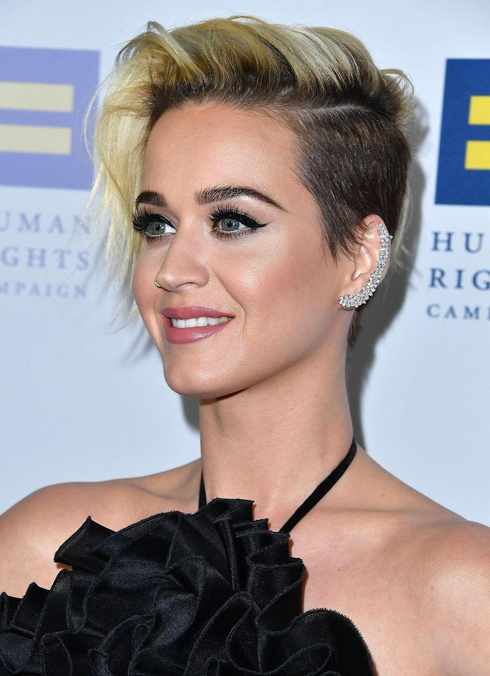 <p>Katy Perry cut her bob into this mixed-length pixie cut for about a week, then went ahead and shaved the top, too. </p>