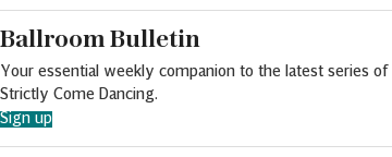 Newsletter promotion - Ballroom Bulletin - in article (Strictly Come Dancing)