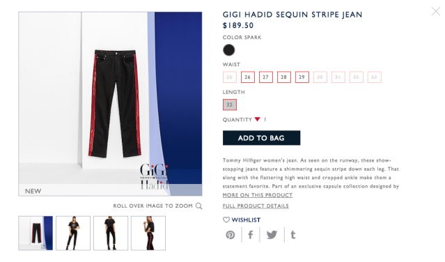 The sold-out Tommy x Gigi Sequin Stripe Jean. (Photo: Tommy.com)