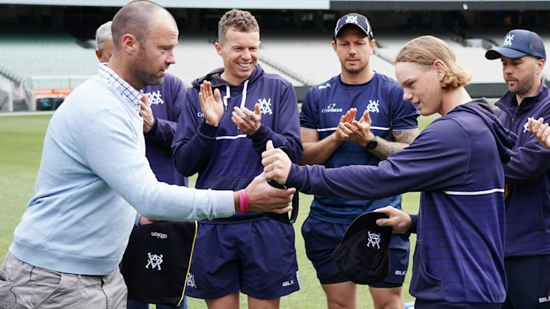 Jake Fraser-McGurk received his Victoria cap before the Sheffield Shield match with Queensland