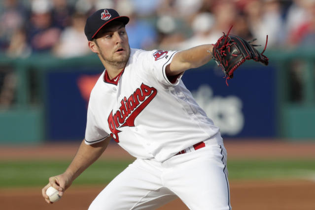 "<a class=""link rapid-noclick-resp"" href=""/mlb/teams/cle"" data-ylk=""slk:Cleveland Indians"">Cleveland Indians</a> starting pitcher <a class=""link rapid-noclick-resp"" href=""/mlb/players/9122/"" data-ylk=""slk:Trevor Bauer"">Trevor Bauer</a> delivers in the first inning of a baseball game against the <a class=""link rapid-noclick-resp"" href=""/mlb/teams/chw"" data-ylk=""slk:Chicago White Sox"">Chicago White Sox</a>, Monday, June 18, 2018, in Cleveland. (AP Photo/Tony Dejak)"