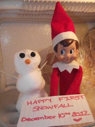 "<p>Has it snowed in your town? Then put together a few snowballs and have them chill out with your elf in the freezer overnight.</p> <p>Source: <a href=""http://melanielee86.blogspot.ca/2012/12/the-best-of-twinkle-2012-elf-on-shelf.html"" target=""_blank"">Blogspot</a></p>"
