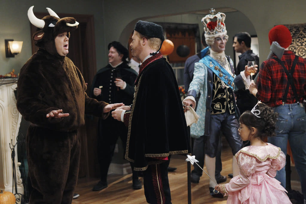 "<b>""Modern Family""</b> -- ""Open House of Horrors""<br>Wednesday, 10/24 at 9 PM on ABC<br><br>Mitch and Cam host a costume party while contending with Lily wondering  who her real mom is. Meanwhile, Phil has an idea to hold an open house on Halloween night since the neighbors think Claire's annual decorations are not ""kid-friendly."""
