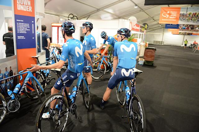 Movistar prepare for their training ride