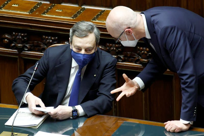 Italy's Prime Minister Mario Draghi addresses the lower house of parliament ahead of a confidence vote, in Rome