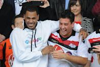 Reality TV star James Argent (right) celebrates with rapper MC Harvey (left) after the HelpHarryHelpOthers charity football match in memory of Harry Moseley at St Andrews Stadium, Birmingham. (Photo by Joe Giddens/PA Images via Getty Images)