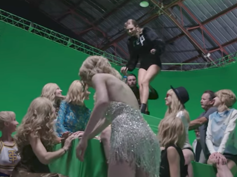 The video gives a sneak peek at the creative masterminds behind the clever footage. Source: Taylor Swift