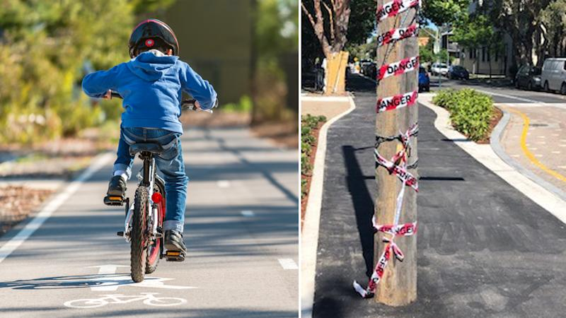 An image of a young boy using a cycleway (right) and the pole in the middle of the Darlington cycleway (left)