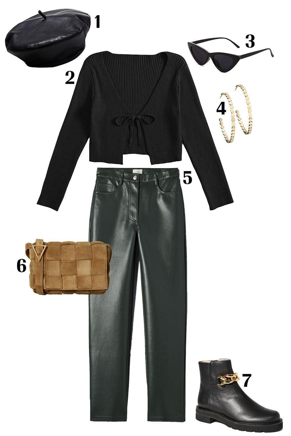 """<p>Go bold with a leather beret! Style yours with bottle-green leather pants and a cardigan that shows off some skin. Pair these pieces with booties with a heavy chain accent that lean into the edgy vibe of this look and finish off the look with your favorite <a href=""""https://www.marieclaire.com/fashion/a33833429/small-gold-hoop-earrings/"""" rel=""""nofollow noopener"""" target=""""_blank"""" data-ylk=""""slk:hoop earrings"""" class=""""link rapid-noclick-resp"""">hoop earrings</a> and <a href=""""https://www.marieclaire.com/fashion/g35120846/best-sunglasses-on-amazon/"""" rel=""""nofollow noopener"""" target=""""_blank"""" data-ylk=""""slk:sunnies"""" class=""""link rapid-noclick-resp"""">sunnies</a>. </p><p>Shop the pieces:<em> <strong>1.</strong> </em><em><a href=""""https://www.amazon.com/KINGSEVEN-Leather-French-Causal-Beanie/dp/B082ZWF5FZ/ref=sr_1_2?th=1"""" rel=""""nofollow noopener"""" target=""""_blank"""" data-ylk=""""slk:Leather Beret"""" class=""""link rapid-noclick-resp"""">Leather Beret</a></em><em>,</em> $13; <strong>2.</strong> <em><a href=""""https://www.amazon.com/dp/B08S34SGRT/ref=twister_B08JPZYWM5"""" rel=""""nofollow noopener"""" target=""""_blank"""" data-ylk=""""slk:Florens Top"""" class=""""link rapid-noclick-resp"""">Florens Top</a></em>, $130; <strong>3.</strong> <em><a href=""""https://www.amazon.com/SOJOS-Vintage-Sunglasses-Goggles-Plactic/dp/B078J99YNG/ref=sr_1_1_sspa?"""" rel=""""nofollow noopener"""" target=""""_blank"""" data-ylk=""""slk:Amazon Sunglasses"""" class=""""link rapid-noclick-resp"""">Amazon Sunglasses</a></em>, $154; <strong>4.</strong> <em><a href=""""https://jenniferzeuner.com/collections/earrings/products/margaux-medium-hoop-earrings"""" rel=""""nofollow noopener"""" target=""""_blank"""" data-ylk=""""slk:Jennifer Zeuner Hoops"""" class=""""link rapid-noclick-resp"""">Jennifer Zeuner Hoops</a></em>, $176; <strong>5.</strong> <em><a href=""""https://www.aritzia.com/us/en/product/melina-pant/81518.html?dwvar_81518_color=19825"""" rel=""""nofollow noopener"""" target=""""_blank"""" data-ylk=""""slk:Wilfred Leather Pants"""" class=""""link rapid-noclick-resp"""">Wilfred Leather Pants</a></em>, $148; <strong>6.</strong> <em>"""
