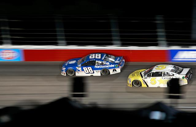 "The special paint schemes <a class=""link rapid-noclick-resp"" href=""/nascar/sprint/drivers/88/"" data-ylk=""slk:Dale Earnhardt Jr."">Dale Earnhardt Jr.</a> (L) and <a class=""link rapid-noclick-resp"" href=""/nascar/sprint/drivers/396/"" data-ylk=""slk:Kasey Kahne"">Kasey Kahne</a> are supposed to drive at Texas may have to change. (Getty)"
