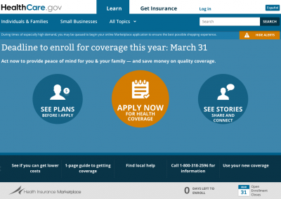 HealthCare.gov screenshot Obamacare ACA