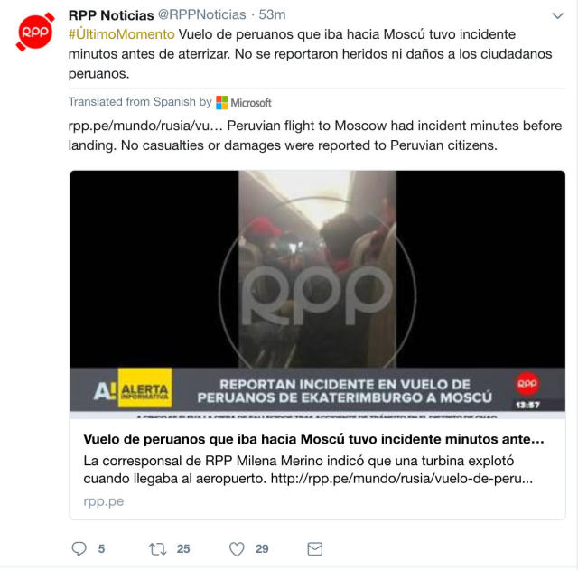A flight to Moscow carrying around 70 Peruvian fans had an incident briefly before landing Friday. (Photo credit: Twitter/@RPPNoticias)