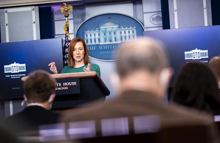 Jen Psaki, White House press secretary, speaks during a news conference in the James S. Brady Press Briefing Room at the White House in Washington, D.C., U.S., on Monday, Jan. 25, 2021. (Kevin Dietsch/UPI/Bloomberg via getty images)