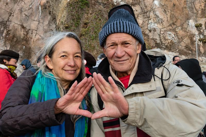 """Liko Martin and Laulani Teale, representatives of the Protect Mauna Kea protest in Hawai'i. We are here to """"recover from the last 500 years and look forward to the next 500 years,"""" says Martin."""