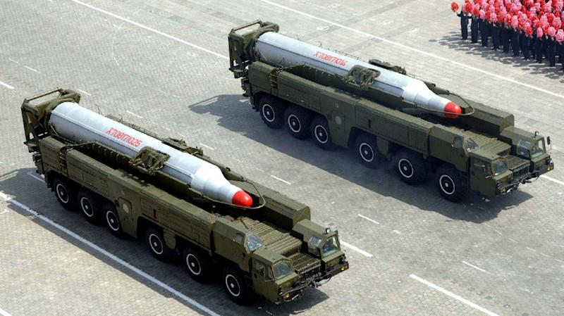 This picture, taken by North Korea's official Korean Central News Agency on April 15, 2012 shows missiles on vehicles during a military pararade commemorating the 100th birth anniversary of former North Korean President Kim Il Sung