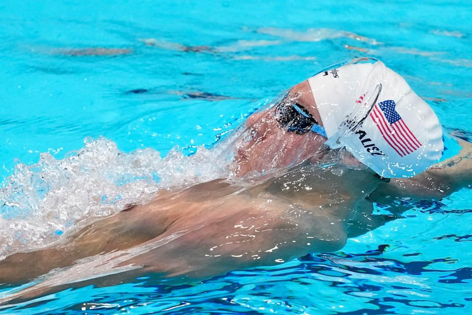 Chase Kalisz of the US swims in the Men's 400m Individual Medley at the 2020 Summer Olympics, Sunday, July 25, 2021, in Tokyo, Japan. (AP Photo/t)