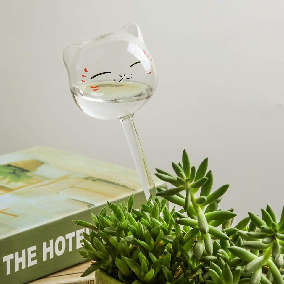 """<p>Whether you have one plant or many, going on vacation can spell disaster for your little green friends. Instead of relying on a friend or family member to take care of your plants for you while you're away, use a watering globe (like this <a href=""""https://www.amazon.com/KiKiHome-Waterer-Watering-Globes-Outdoor/dp/B07XP9RKG2/ref=asc_df_B07XP9RKG2/?tag=hyprod-20&amp;linkCode=df0&amp;hvadid=385179065226&amp;hvpos=1o10&amp;hvnetw=g&amp;hvrand=10998402206445561582&amp;hvpone=&amp;hvptwo=&amp;hvqmt=&amp;hvdev=c&amp;hvdvcmdl=&amp;hvlocint=&amp;hvlocphy=1014221&amp;hvtargid=pla-841189340086&amp;psc=1&amp;tag=&amp;ref=&amp;adgrpid=83905924532&amp;hvpone=&amp;hvptwo=&amp;hvadid=385179065226&amp;hvpos=1o10&amp;hvnetw=g&amp;hvrand=10998402206445561582&amp;hvqmt=&amp;hvdev=c&amp;hvdvcmdl=&amp;hvlocint=&amp;hvlocphy=1014221&amp;hvtargid=pla-841189340086"""" class=""""link rapid-noclick-resp"""" rel=""""nofollow noopener"""" target=""""_blank"""" data-ylk=""""slk:KiKiHome New Plant Waterer Self Watering Globes"""">KiKiHome New Plant Waterer Self Watering Globes</a> ($22 for 3))!</p> <p>You can even make your own water globe! Just grab a pop bottle (or wine bottle), fill it with water, and insert the open end deep into the soil. The water will slowly release as your plant's roots need it, so there's no need for a plant sitter.</p>"""