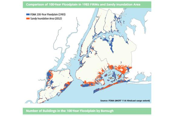 This image overlays the 100-year floodplain mapped by FEMA with information the New York Department of State. The red corresponds to areas at the highest risk of flooding, the blue indicates the 100-year flood plain (as delineated on FEMA's new