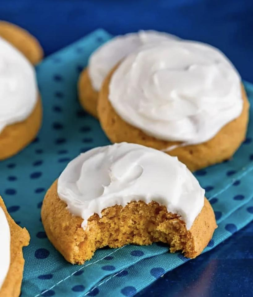 """<p>Embrace the flavors of fall when you make these chewy pumpkin cookies. They're topped with a tasty cream cheese frosting, and will make you drool before they're even out of the oven.</p> <p><strong>Get the recipe</strong>: <a href=""""https://www.lovefromtheoven.com/soft-pumpkin-cookies/"""" target=""""_blank"""" class=""""ga-track"""" data-ga-category=""""internal click"""" data-ga-label=""""https://www.lovefromtheoven.com/soft-pumpkin-cookies/"""" data-ga-action=""""body text link"""">soft pumpkin cookies</a></p>"""