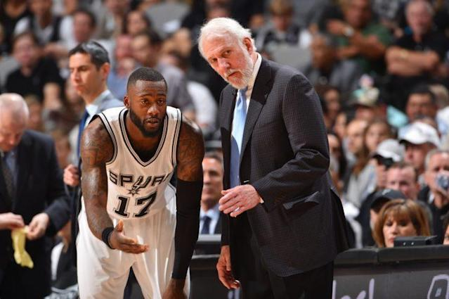 "The Spurs let <a class=""link rapid-noclick-resp"" href=""/nba/players/5526/"" data-ylk=""slk:Jonathon Simmons"">Jonathon Simmons</a> walk, and haven't really improved their roster. (Getty)"