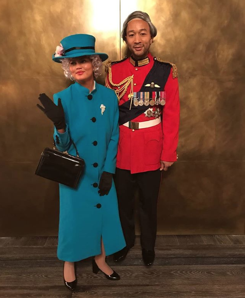 <p>Chrissy and John went for a royal inspired Halloween this year. Chrissy donned a matching hat and coat ensemble, complete with handbag and gloves, to pay tribute to Her Royal Highness, while John Legend was the Duke of Edinburgh in full traditional uniform.<em> [Photo: Instagram]</em> </p>