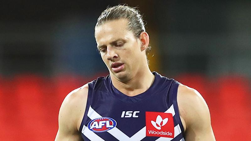 Seen here, Fremantle skipper Nat Fyfe has come under fire for his defence.