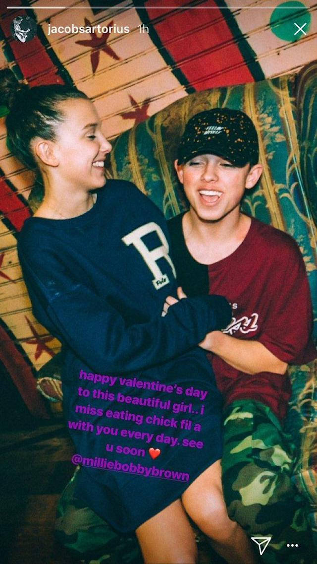 Jacob Sartorius's social media valentine to Millie Bobby Brown. (Photo: Instagram Stories.)