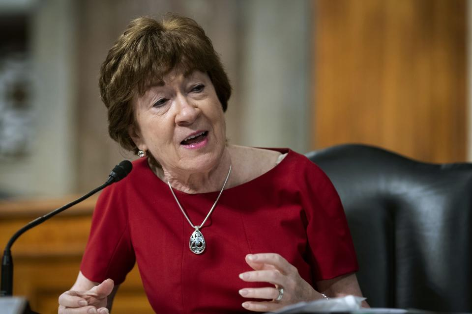 FILE - In this June 30, 2020, file photo, Sen. Susan Collins, R-Maine, speaks during a Senate Health, Education, Labor and Pensions Committee hearing on Capitol Hill in Washington. Collins running for reelection to represent Maine in the Senate in the Nov. 3 general election. (Al Drago/Pool via AP, File)